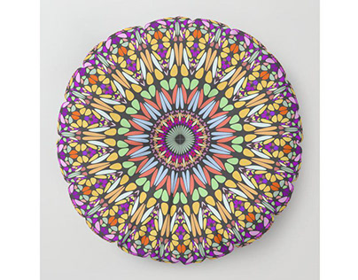 Floral Mandala with Happy Stones Floor Pillow