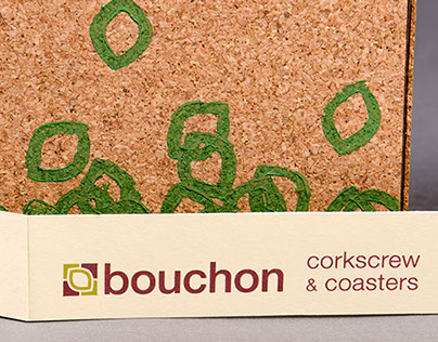 bouchon corkscrew sustainable packaging + coasters