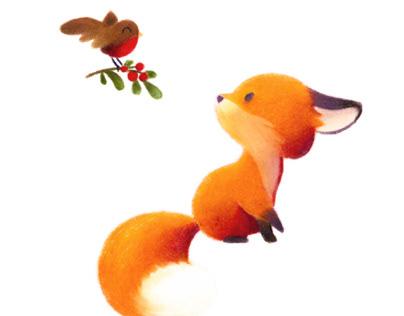 Little fox and bird