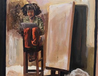 artist paints self with undertones of identity