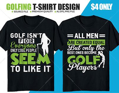 Golfing Golf Tee Printing T-shirt Design Ideas