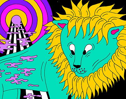 "Street Art: Lion from ""Alice in Wonderland"""