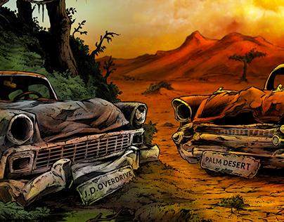 JD Overdrive/Palm Desert split cover artwork