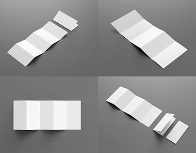 5 Panel Penta-Fold Brochure Mockup Set