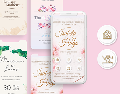 Demonstrativo Convite de Casamento com botão interativo