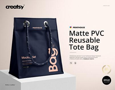 Matte PVC Reusable Tote Bag Mockups