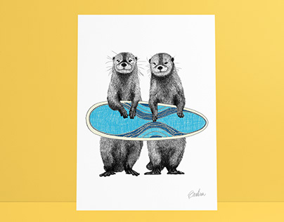 Surfing Otters
