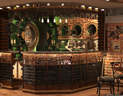 restaurant in the style of steampunk