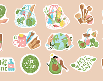 Eco-friendly stickers, conscious consumption. Ecology
