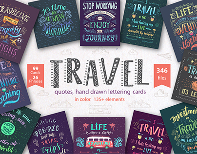 Travel. Hand lettering cards in color.