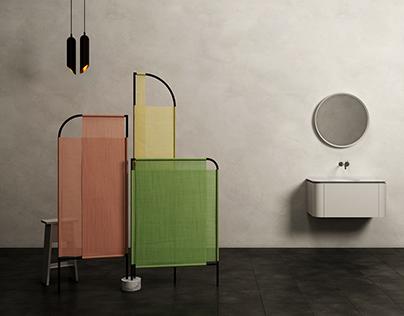MOVO. Bathroom Folding Screen.