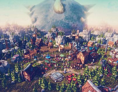 Low Poly Game Buildings | City Builder | Unity3d Render