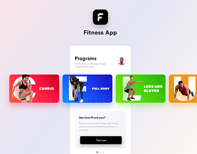 Fitness app cards and banners prototpes