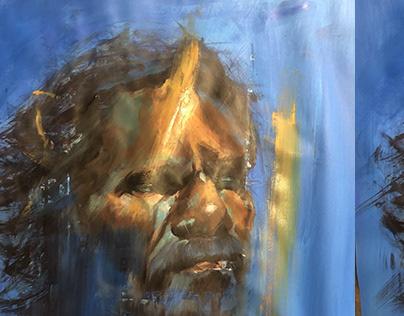 Aboriginal portrait, study acrylic on paper