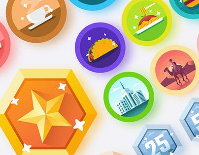 PopDish Achievement Badges Illustration