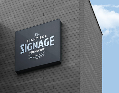 Free Wall Mounted Logo Signage Board on Building Mockup