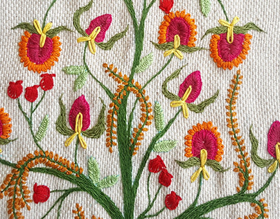 Sofa Cover: Hand Embroidery
