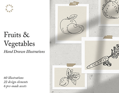 Fruits & Vegetables Hand Drawn Illustrations