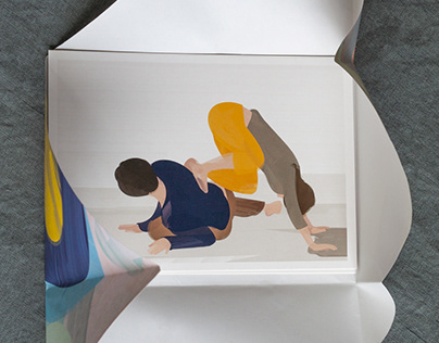5 postcard drawings of contact improvisation