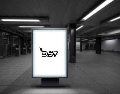 Free Blurred Background Light Box Mockup Design   PSD T