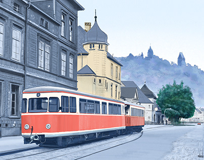 VT2 in front of Altena Railway Station