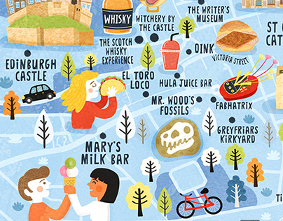 Edinburgh UK Map Illustration