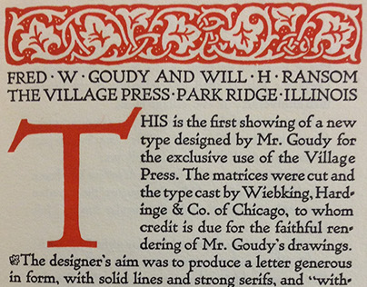 Village Type by Frederic Goudy