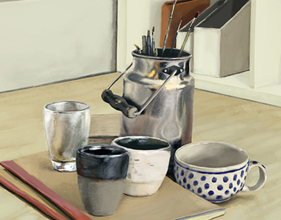 Still-life digital painting and timelapse
