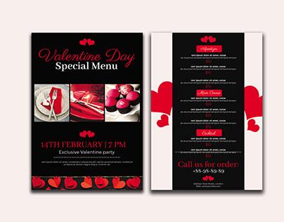 Valentine Day Menu Flyer