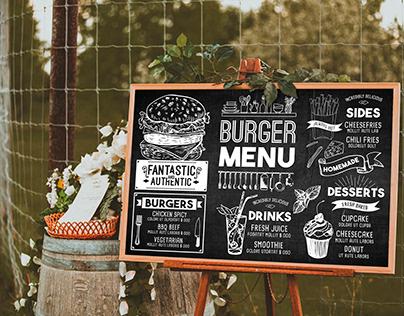 Burger Menu Design vintage & chalkboard style