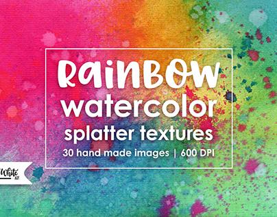 Rainbow Watercolor Splatter Textures