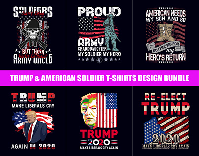 Trump & American Soldier T-Shirts Design Bundle​​​​​​​