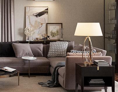 Living room in coffee tones