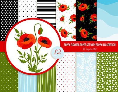Poppy Flowers with Digital Paper Set