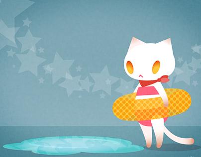 Cat want to swim.
