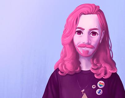 Self-portrait avatar - Digital Illustration