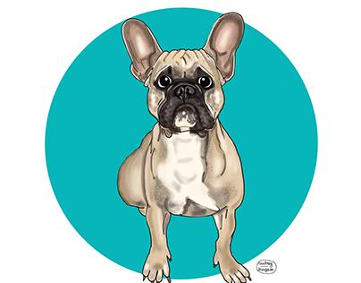 Pet custom portrait in a cartoon style
