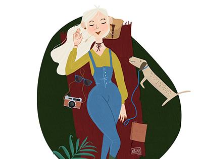 Girl Relax Illustration