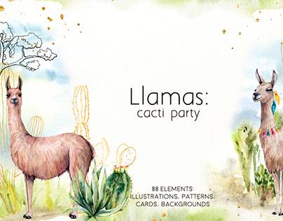 Llamas: cacti party. Watercolor collection