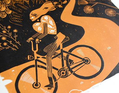 Linocut print Bicycle