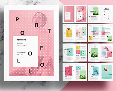 Editorial Pink Portfolio Layout Template