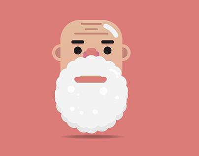 Flat Design EP.1 Face Old Man