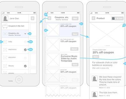 Mobile App wireframes for Target with Sonic Notify Tech