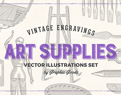 Art Supplies – Vintage Illustrations By: Graphic Goods