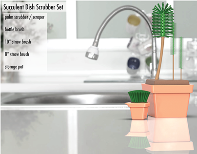 Succulent Dish Scrubber Set