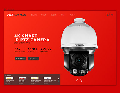 Hikvision Home Page Concept Design - Clean & Modern