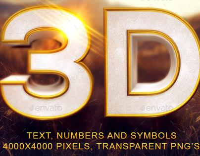 Gold Beveled 3D Text and Symbols