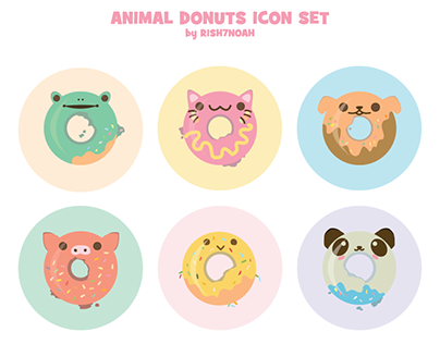 FREE - ANIMAL DONUTS ICON SET