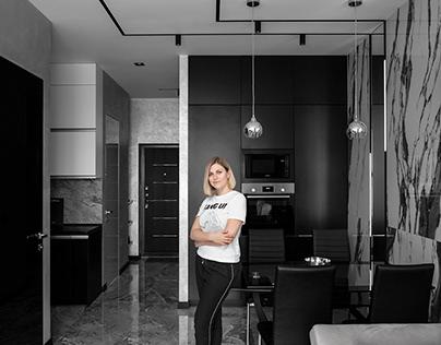 Черно-белая квартира для любителя минимализма