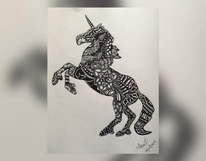 Unicorn Zentangle Art